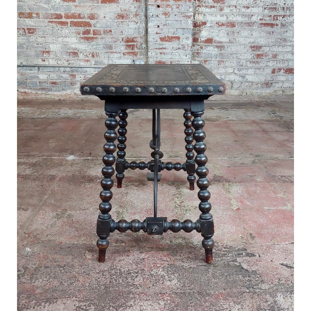 18th Century Spanish Revival Leather Top Trestle Occasional Table For Sale - Image 4 of 11