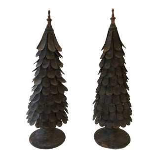 Hand Forged Iron & Zinc Tree Sculptures - a Pair