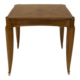 French Art Deco Light Mahogany Square Game Table For Sale