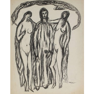 Jennings Tofel Three Expressionist Figures in Charcoal, Early 20th Century For Sale