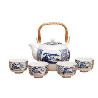 5-Piece Blue & White Ceramic Japanese Tea Service For Sale