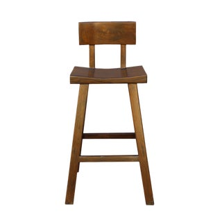 Handmade Solid Wood Brown A-Line Bar Stool For Sale