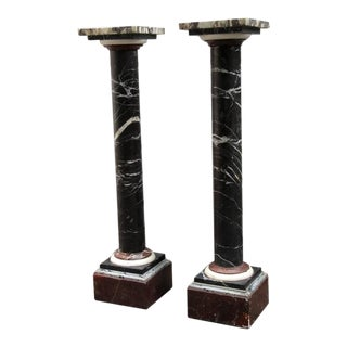 Pair of 19th Century French Empire Marble Column Pedestals