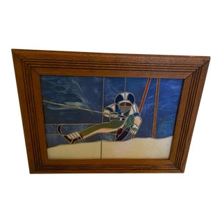 Stained Glass Down Hill Skier in Hand Made Walnut Frame For Sale