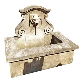 Hand Carved Limestone Wall Fountain For Sale