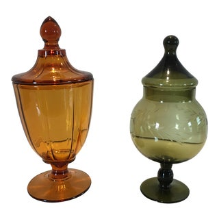 Mid Century Apothecary Jars - a Pair For Sale