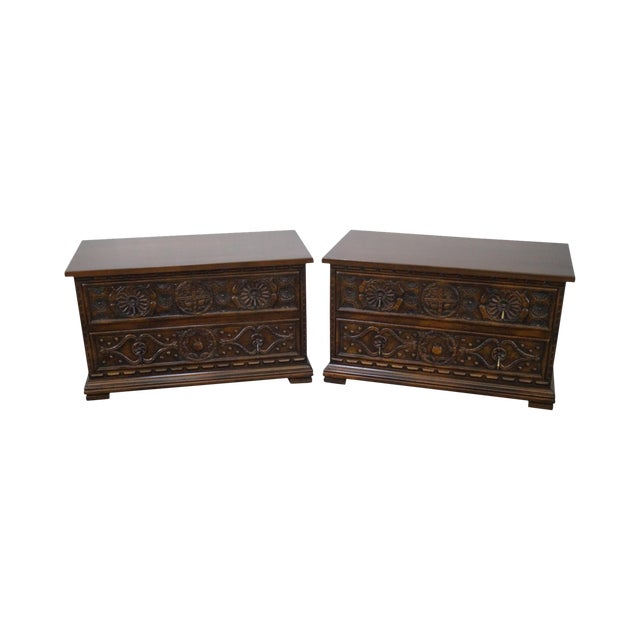 Widdicomb Sunflower Carved Chests - A Pair For Sale
