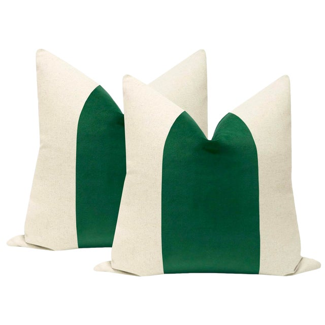 """22"""" Malachite Velvet Panel & Linen Pillows - a Pair For Sale"""