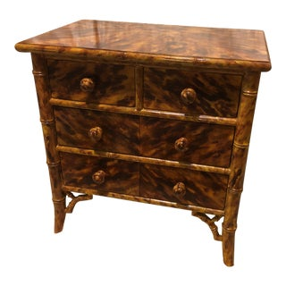 Hollywood Regency Faux Tortoiseshell Small Chest of Drawers For Sale