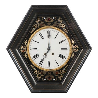 19th Century French Boulle-Inlaid Hexagonal Wall Clock For Sale