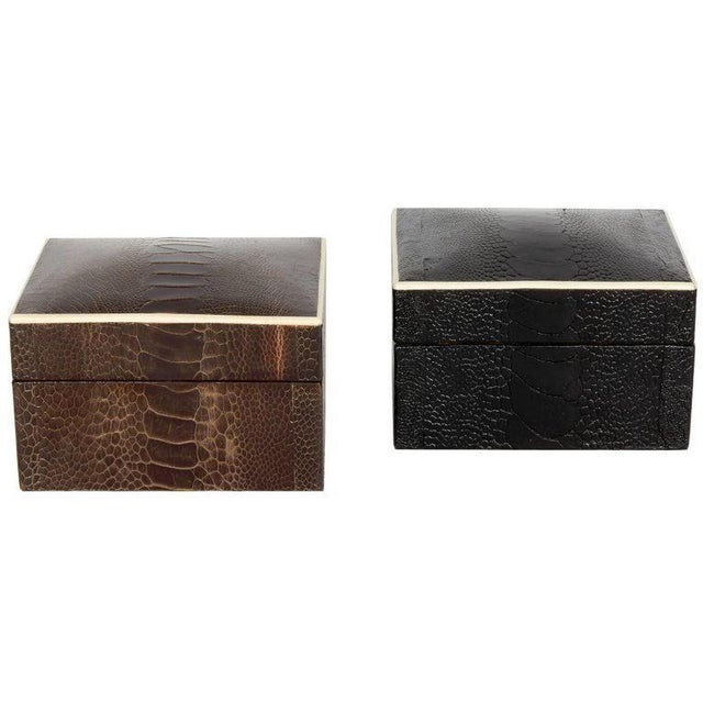 Pair of R & Y Augousti Decorative Boxes in Exotic Ostrich Leather With Bone Inlay For Sale - Image 10 of 13