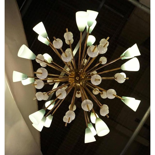 Contemporary Italian White & Mint Green Murano Glass Sputnik Brass Chandelier For Sale - Image 4 of 8