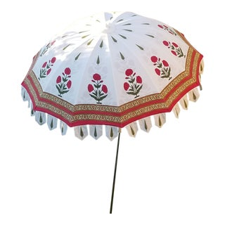 Hand Block Print Taj Garden Umbrella For Sale