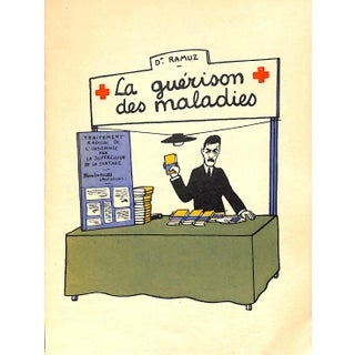 Paris Storefront, French Lithograph, La Guerison Des Malaies, Guilac 1925, Matted For Sale