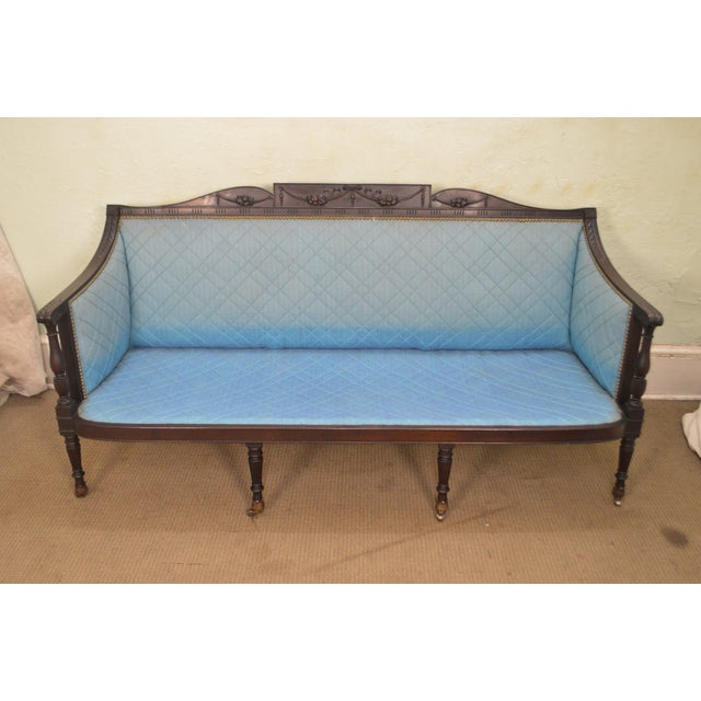 Federal Style Antique American Custom Mahogany Frame Sofa For Sale In Philadelphia - Image 6 of 13