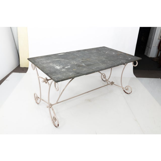 White White Scroll Base Garden Dining Table For Sale - Image 8 of 11