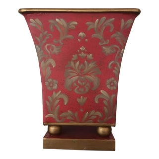 Vintage Small Red Gold Tole Metal Planter