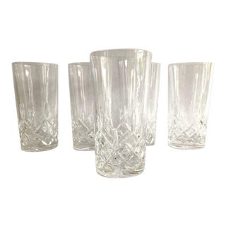 Vintage 1990's Galway Cut Crystal Tall Water / Bar Glasses - Set of 5 For Sale