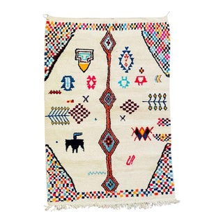 1990s Morocco Beni Ourain Hand Knotted Rug-6′5″ × 9′4″ For Sale