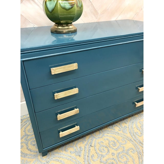 Lacquered Teal Brass Hardware Dresser - Image 5 of 7