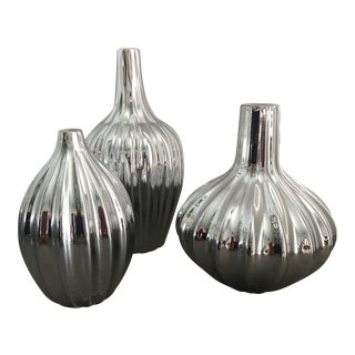 Jonathan Adler Chrome Painted Ceramic Vases - Set of 3 For Sale