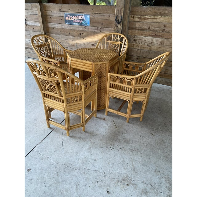 Vintage Brighton Pavilion Style Bamboo and Wicker Weave Table Four Chairs For Sale - Image 13 of 13