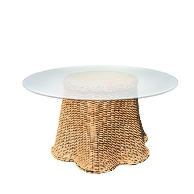 1970s Boho Chic Round Wicker Bamboo Rattan Trompe l'Oeil Ghost or Draped Table in the Manner of Michael Taylor For Sale - Image 5 of 5