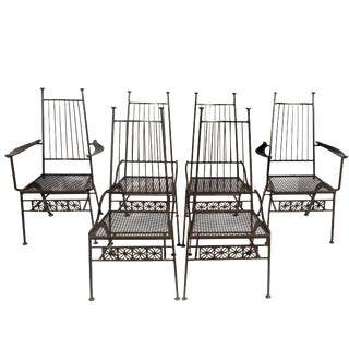 Rare Set of Six Salterini Wrought Iron Chairs For Sale