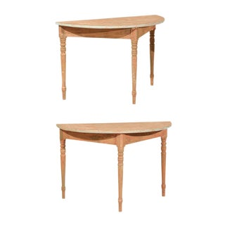 19th Century Swedish Demilune Console Tables - a Pair For Sale