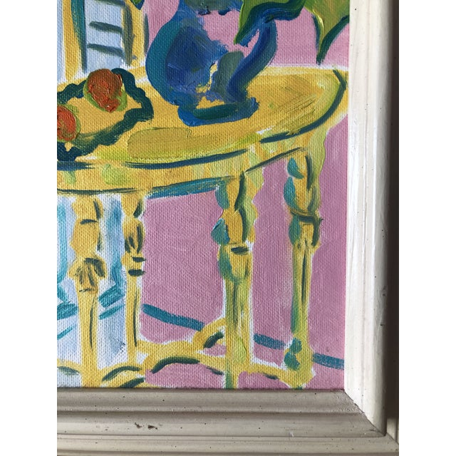 The Yellow Table Impressionist Painting 1990s For Sale - Image 4 of 9
