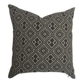Black & White Tribal Woven Ikat Pillow For Sale