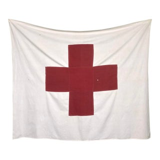 Mid Century Sewn Cotton Red Cross Flag For Sale
