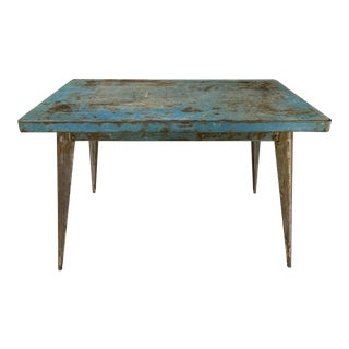 Vintage 1950s French Metal Tolix Table For Sale