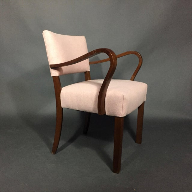 1940s 1940s Armchair in Dark Stained Oak, Felted Wool Upholstery For Sale - Image 5 of 10