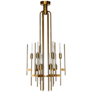 Mid-Century Modern Brass 12-Lights Chandelier by Gaetano Sciolari, 1960s For Sale