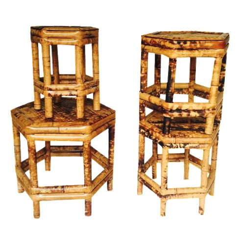 Chinoiserie Bamboo Plant Stands - Set of 4 - Image 1 of 6