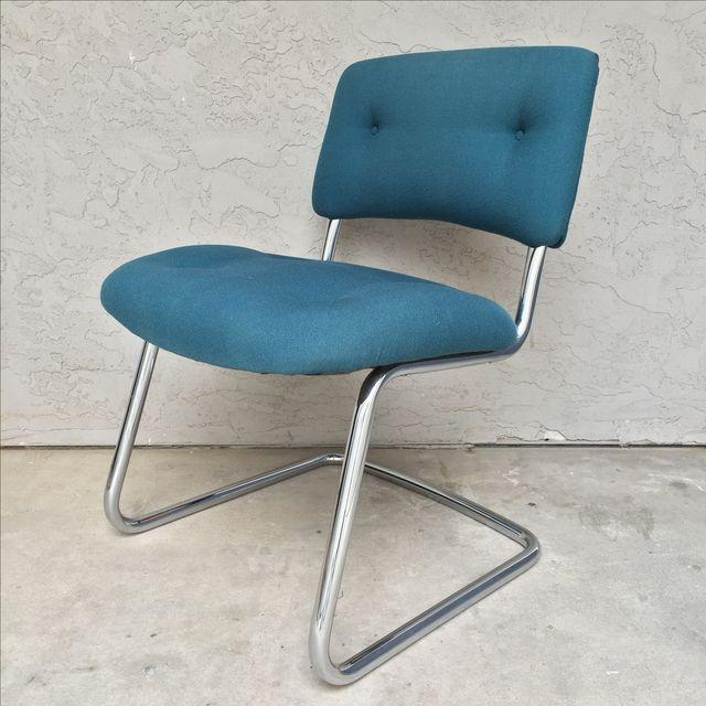 Vintage Steelcase Armless Turquoise Task Chair   Image 2 Of 7