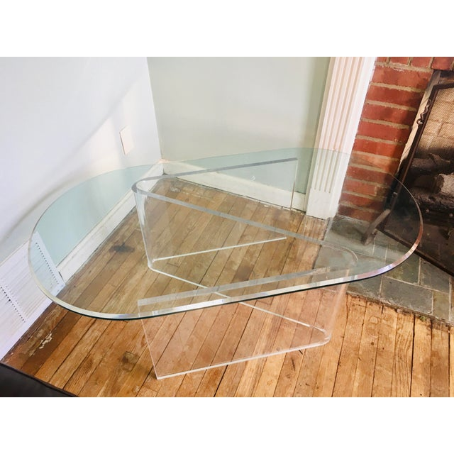 1970s Lucite/Acrylic Base Coffee Table With Beveled Edge Glass Top For Sale - Image 5 of 5