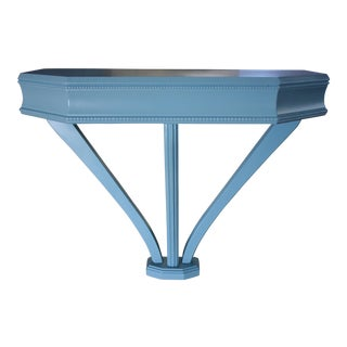 Vintage French Blue Wall -Mount Console Table / Nightstand For Sale