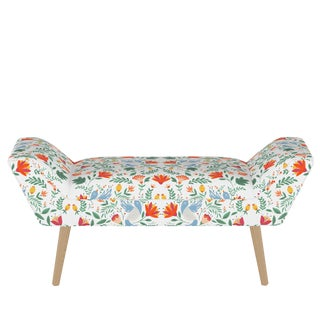 Modern Welted Bench in Nordic Bird White Oga For Sale