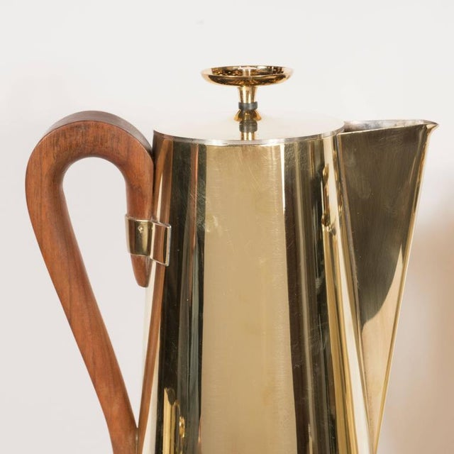 Tommi Parzinger for Dorlyn Silversmiths Coffee/Tea Service in Brass and Walnut For Sale - Image 9 of 11