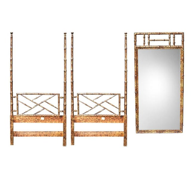 Brown Hollywood Regency Two Faux Bamboo Twin Bed Headboard Set and Mirror in Tortoise Shell by Henredon - 3 Pieces For Sale - Image 8 of 8