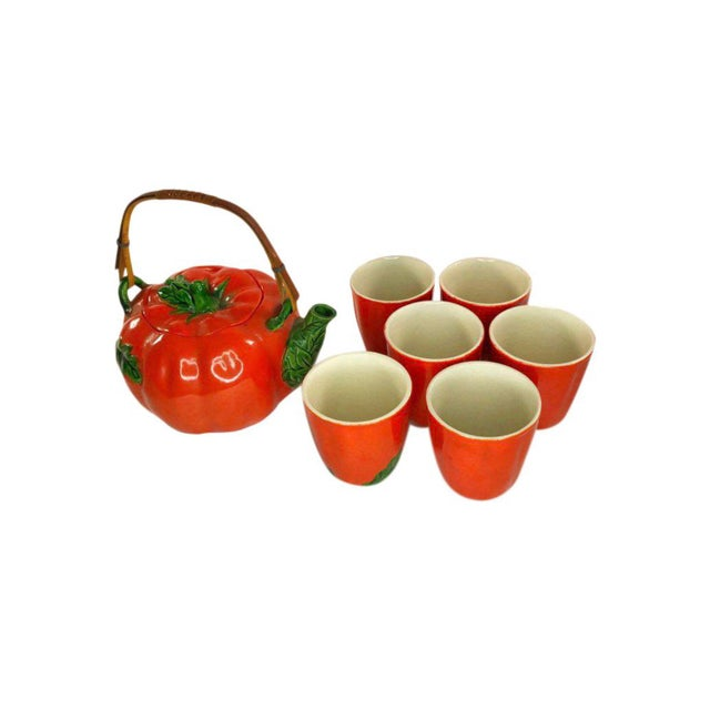 Ceramic 1960s Mid-Century Japanese Tomato Teapot & Cups - Set of 7 For Sale - Image 7 of 8