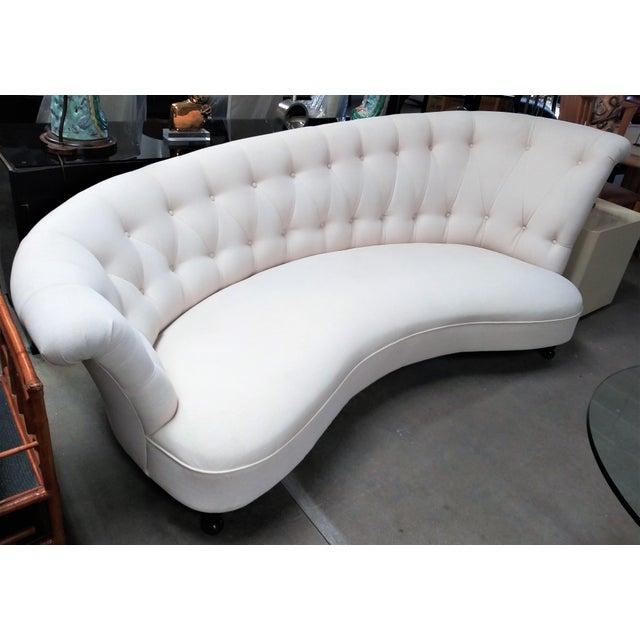 Hollywood Regency Sommerlath White Tufted Sofa For Sale - Image 3 of 3