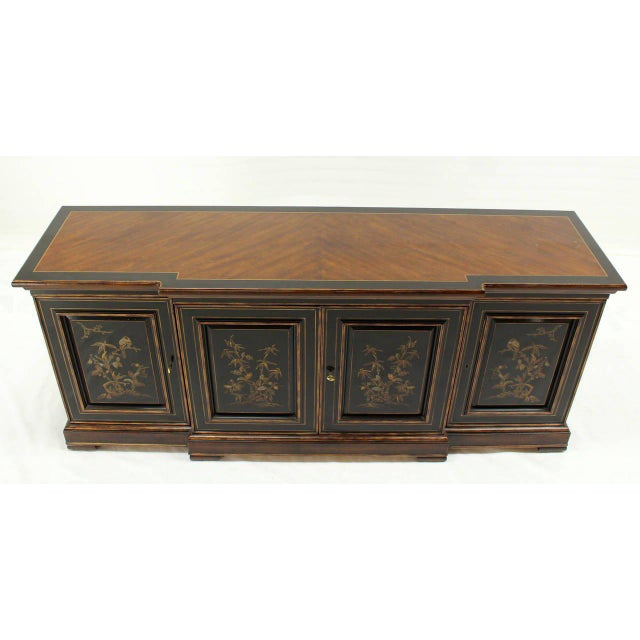 Two Tone Chinoiserie Four Doors Drexel Server Cabinet For Sale - Image 9 of 10