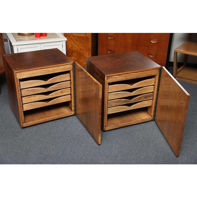 Romweber Mid Century Modern Night Stands in Exotic Burl Late 1940s, Set of Two. - Image 6 of 11