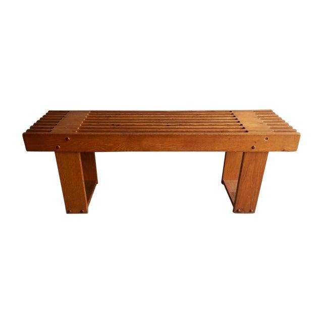 Vintage Oak Slatted Bench - Image 1 of 6