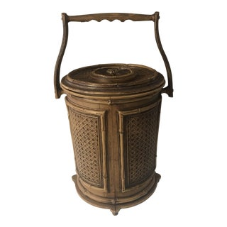 Mid-Century Insulated Faux Bamboo Cane Ice Bucket For Sale