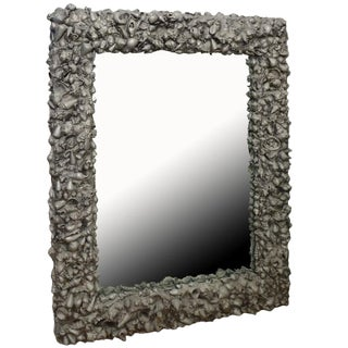 Custom Cement Shell Sculptural Mirror For Sale