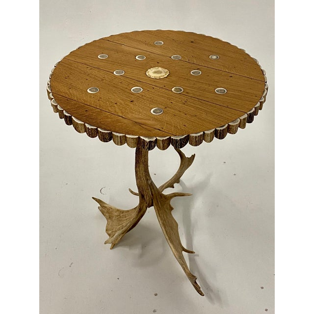 1980s Organic Modern Antler Side Table For Sale - Image 5 of 13